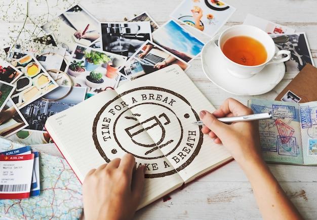 Przerwa kawowa herbata czas pieczęć ikona koncepcja graficzna