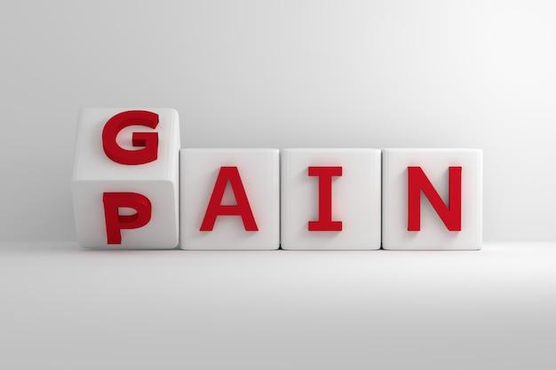 Przerzucając białe kostki z czerwonymi słowami zysk i ból