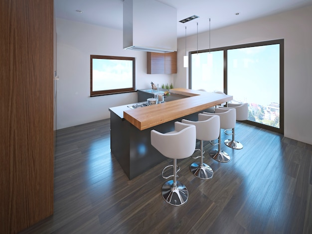 Przestronna kuchnia z barem na wyspie i dużymi panoramicznymi oknami od podłogi do sufitu z laminowaną podłogą.