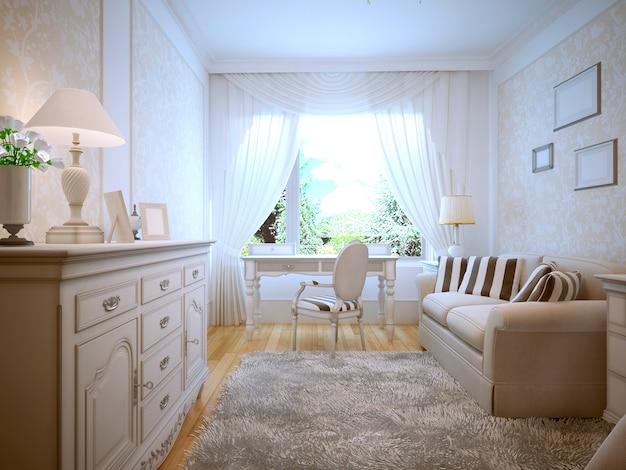 Przestronna sypialnia z białymi ścianami