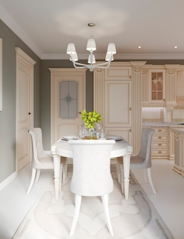 Przestronne wnętrze jadalni i kuchnia, renderowanie 3d
