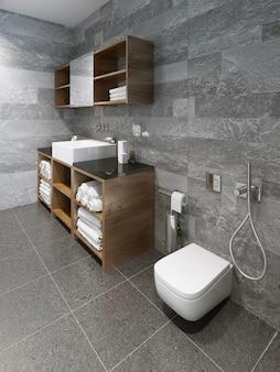 Przestronny, minimalistyczny projekt łazienki.