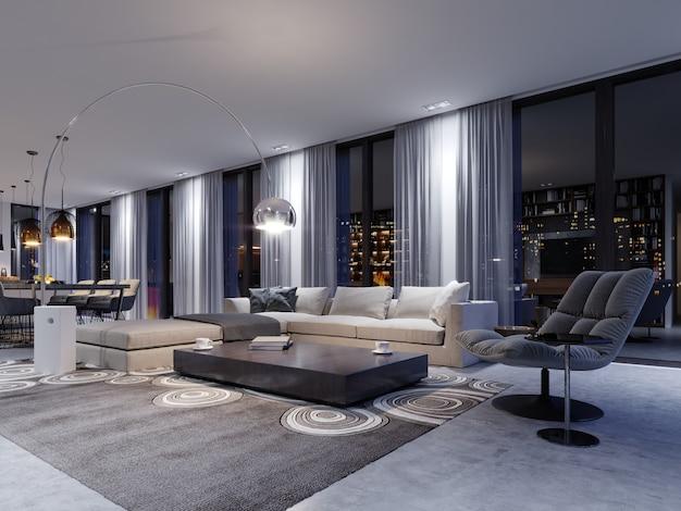 Przestronny salon z ogromną sofą w luksusowym apartamencie. renderowanie 3d