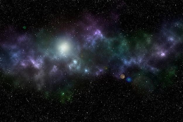Przestrzeń kosmiczna. jasna gwiazda na nocnym niebie.