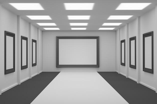 Przestrzeń wystawowa z pustymi ramkami do zdjęć