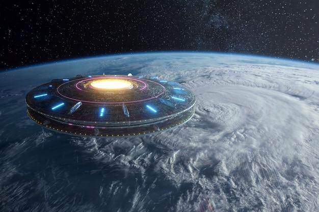 Przesunięcie przestrzeni kosmicznej unoszące się nad ziemią