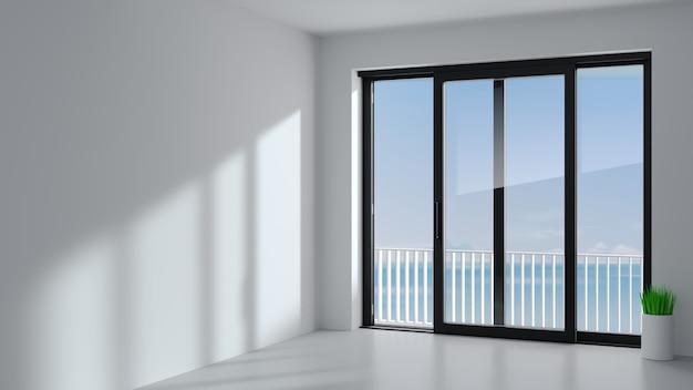Przesuwne drzwi zewnętrzne z dwoma czarnymi okiennicami.