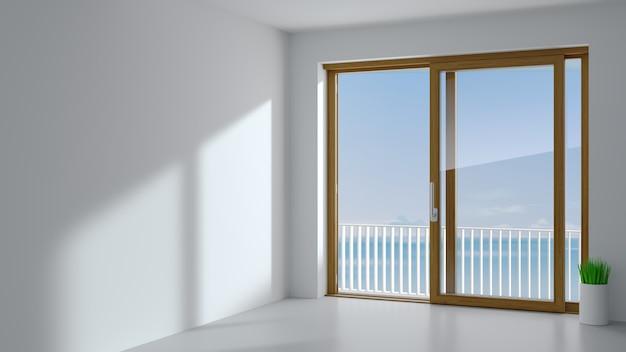 Przesuwne drzwi zewnętrzne z dwoma drewnianymi okiennicami.