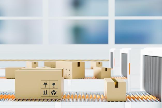 Prześwietlenie biznesowe w zakresie logistyki, aby zobaczyć wnętrze pudełka z dostawą paczek w branży logistycznej, renderowanie ilustracji 3d