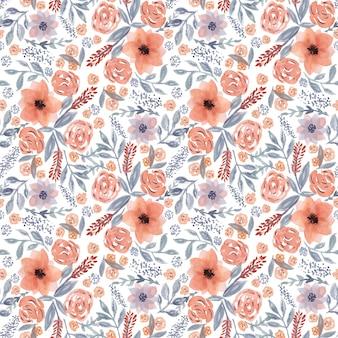 Przetarg piękny wzór z ręcznie rysowane akwarela pomarańczowe kwiaty i niebieskie liście na białym tle