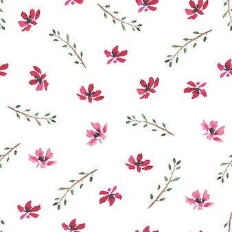 Przetargowy wzór z ręcznie rysowane akwarela małe czerwone kwiaty i liście na gałęziach na białym tle