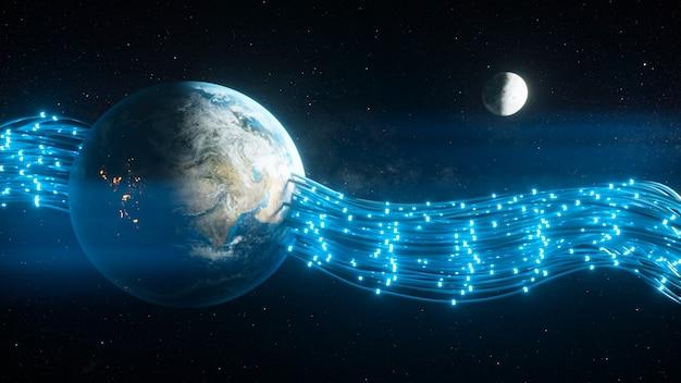 Przewody przechodzące przez planetę ziemię i dające jej energię