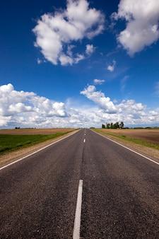 Przez pole przebiega wiejska, nieutwardzona droga