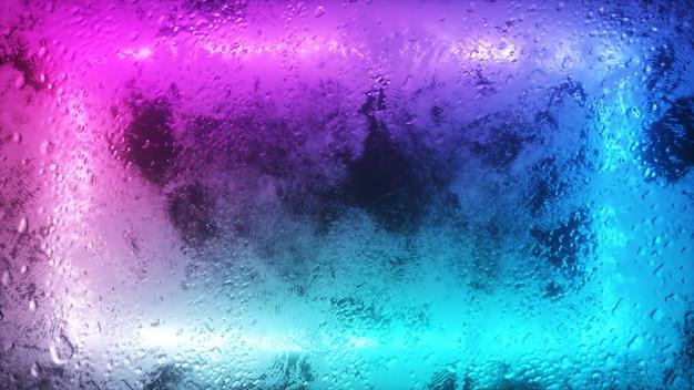 Przez zamglone okno miga jasny neonowy prostokąt