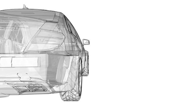 Przezroczysty super szybki samochód sportowy wytyczone linie na białym tle. sedan w kształcie nadwozia. tuning to wersja zwykłego samochodu rodzinnego. renderowania 3d.