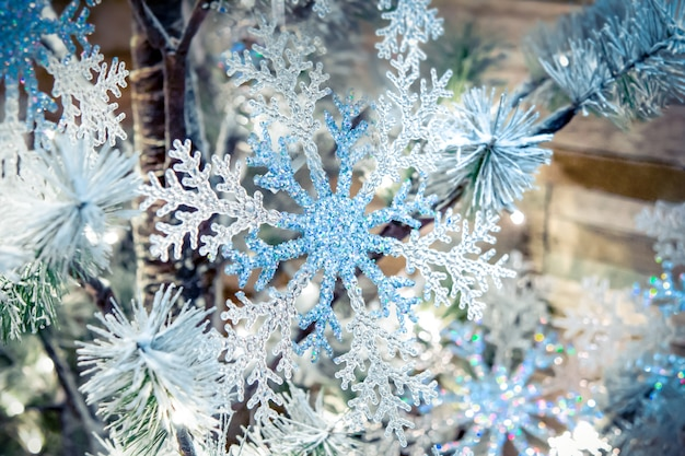 Przezroczysty wystrój płatka śniegu nowy rok świąteczna dekoracja