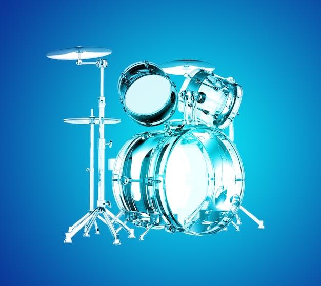 Przezroczysty zestaw perkusyjny na niebiesko