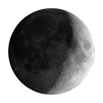 Przybywający sierp księżyca widziany przez teleskop, odizolowany