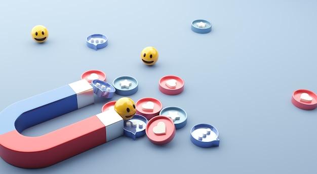 Przyciąganie (emoji, miłość, gwiazdka, ikona komentarza) za pomocą ogromnego magnesu. marketing mediów społecznościowych.
