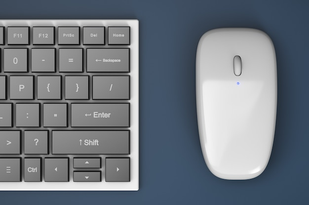 Przycięta bezprzewodowa klawiatura i mysz komputerowa na stole.