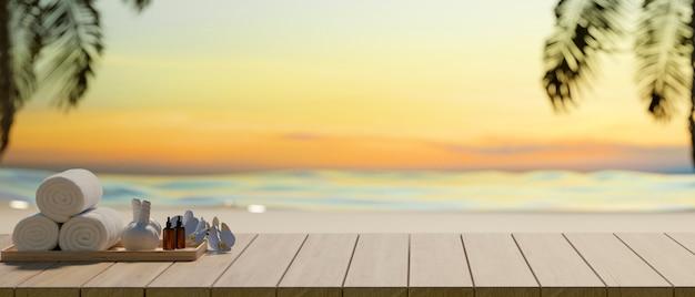 Przycięte zdjęcie akcesoriów spa na drewnianym stole i kopia przestrzeń z tłem morza, koncepcja lato