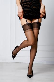 Przycięte zdjęcie kobiety podnoszącej krótką sukienkę, przedstawiające pończochy i pas do pończoch