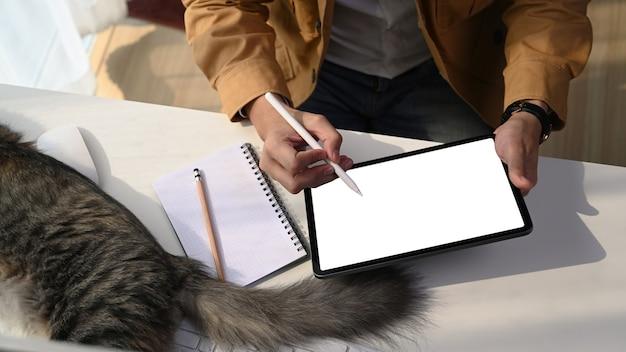 Przycięte zdjęcie młodego projektanta mężczyzny pracującego online z cyfrowym tabletem i słodkim kotem leżącym obok niego.