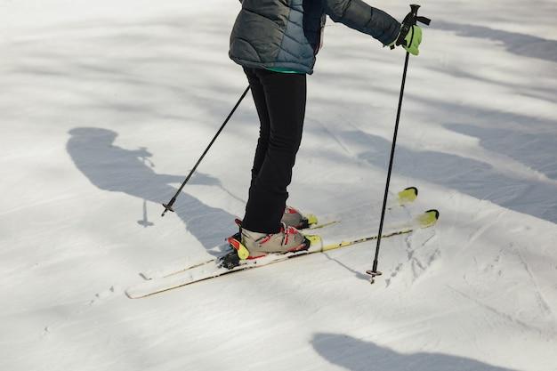 Przycięte zdjęcie narciarza w nartach stojących na zaśnieżonych górach