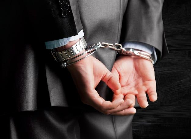 Przycięty obraz męskich dłoni w kajdankach za plecami