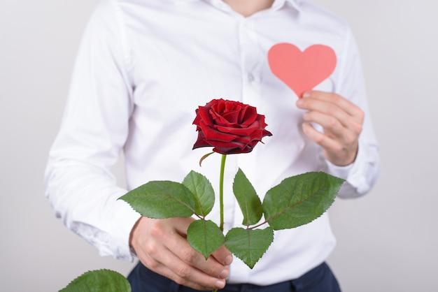 Przycięty portret z bliska przystojny, uroczy, szczery dżentelmen trzymający jasny duży duży kwiat z delikatnymi delikatnymi płatkami czułości na białym tle szara ściana