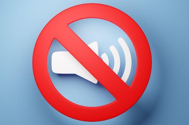 Przycisk 3d ilustracja przycisku wyłączania muzyki, głośność na niebieskim tle. znak przycisku wyciszania dla odtwarzacza muzyki. odtwórz element projektu