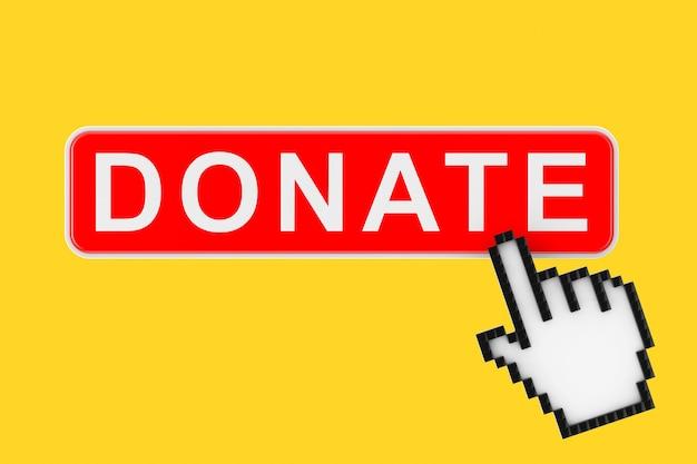 Przycisk darowizny z ikoną piksela ręka na żółtym tle renderowanie 3d