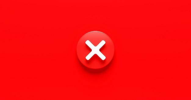 Przycisk ikony czerwonego krzyża wyboru i brak lub zły symbol na odrzuceniu przycisku anulowania negatywnej listy kontrolnej tła z polem opcji odrzucenia. renderowanie 3d.