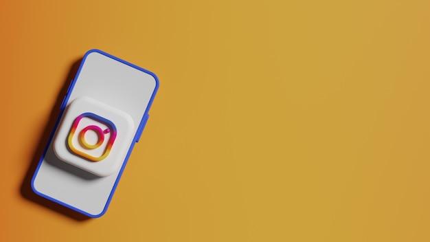 Przycisk logo instagram na tle ekranu telefonu