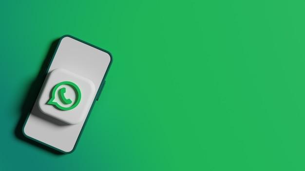Przycisk logo whatsapp na tle ekranu telefonu