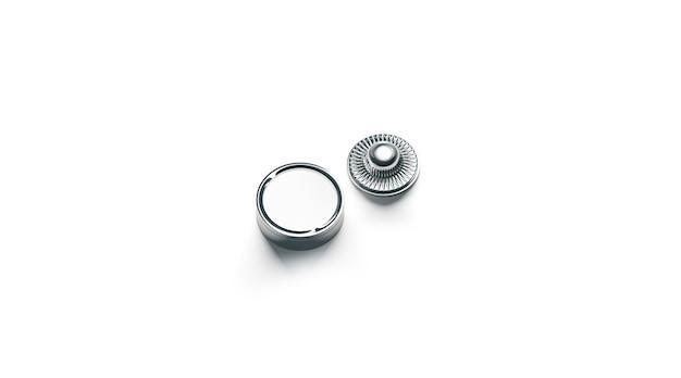 Przycisk przystawki pusty biały metal na białym tle