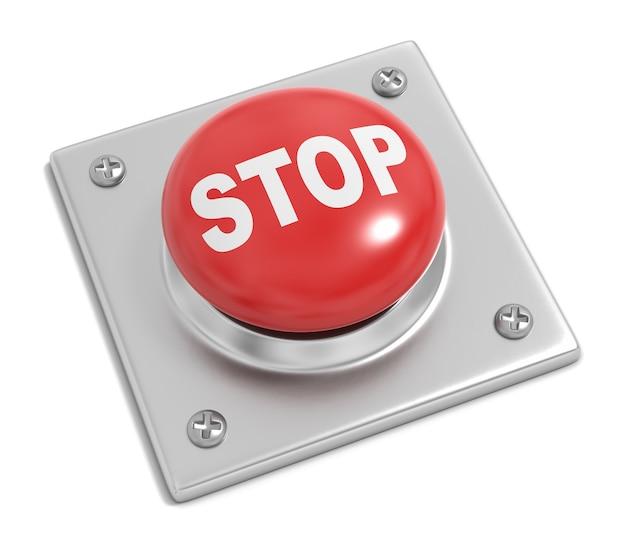 Przycisk stop na białym tle