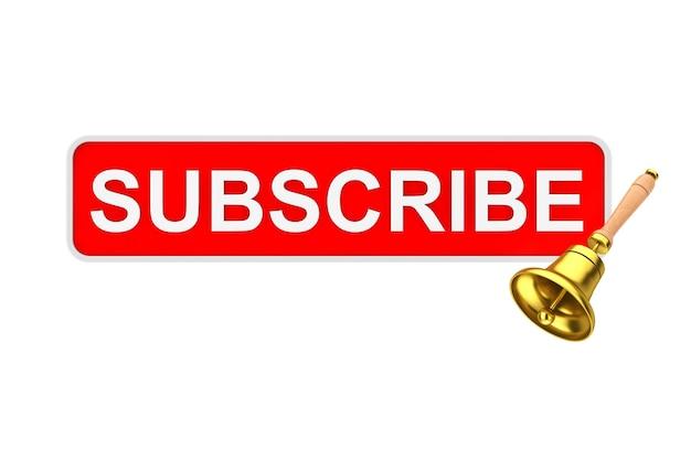 Przycisk subskrybuj pole tekstowe ze złotym dzwonkiem powiadomienia na białym tle. renderowanie 3d