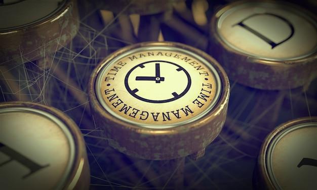 Przycisk zarządzania czasem na starej maszynie do pisania. pomysł na biznes.