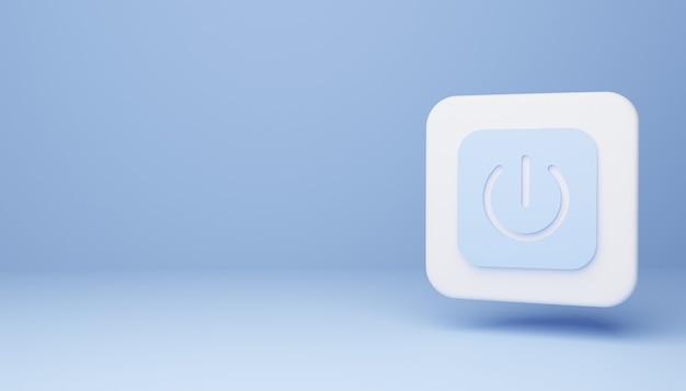 Przycisk zasilania na niebieskim tle