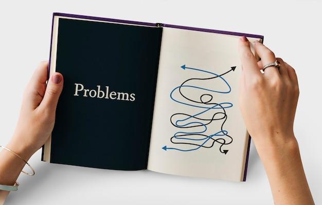 Przygnębiony skomplikowany chaos sytuacji krytycznej grafiki słownej