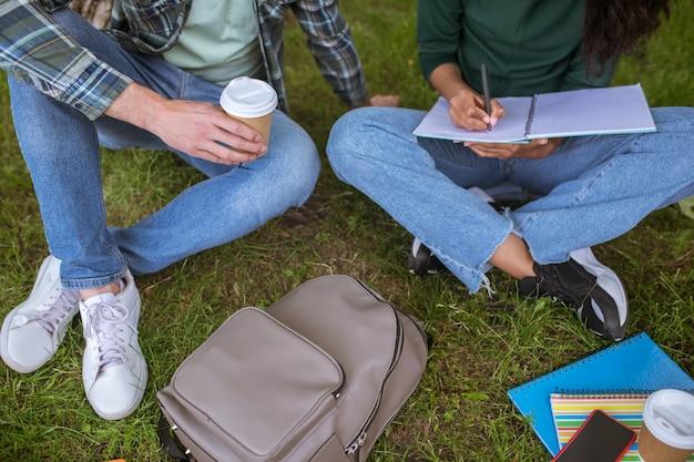 Przygotowanie do egzaminów. grupa młodych ludzi siedzących na trawie i przygotowujących się do egzaminów