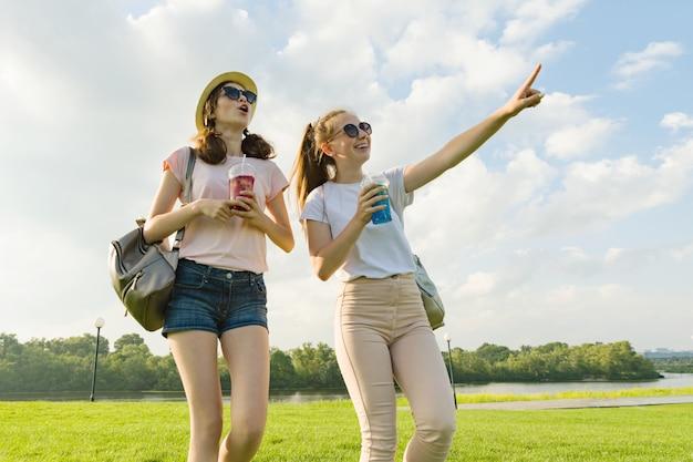Przyjaciółki chodzą w parku w przyrodzie