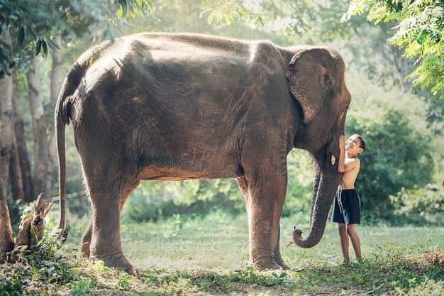 Przyjaźń między dziećmi z słonia na wsi w tajlandii