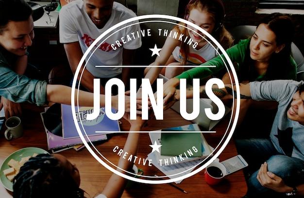 Przyjaźń pracy zespołowej dołącz do nas word concept