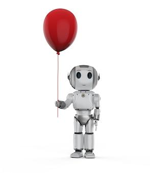 Przyjazna koncepcja technologii z robotem renderującym 3d trzymaj czerwony balon