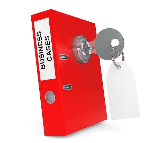 Przypadki biznesowe achive office binder z blokadą klawiszy i pustym znacznikiem na białym tle. renderowanie 3d