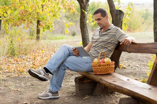 Przypadkowy mężczyzna w średnim wieku na rustykalnej ławce w lesie, czytając książkę z koszem świeżych jabłek obok siebie
