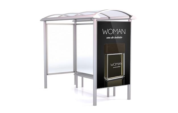 Przystanek autobusowy renderowania 3d na białym tle przedstawiający reklamę fragance
