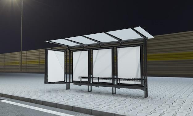 Przystanek autobusowy z pustymi ramkami